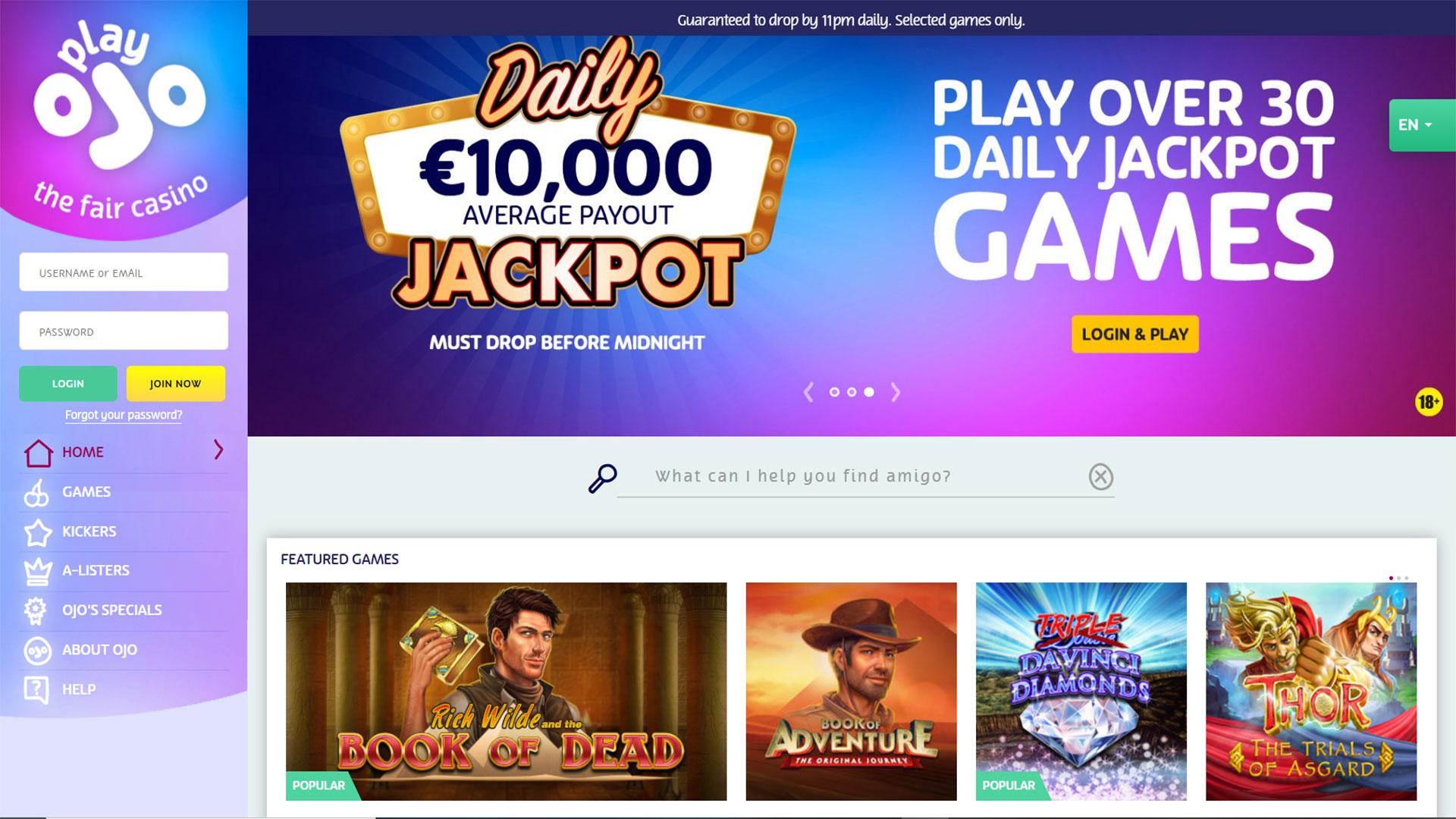 PlayOJO Casino screenshot