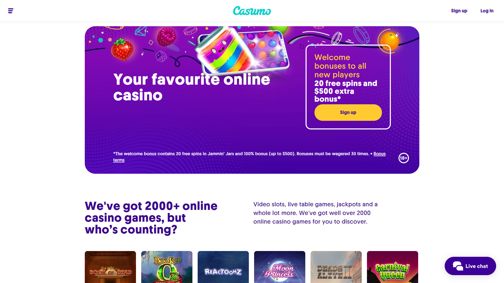 Casumo Casino screenshot