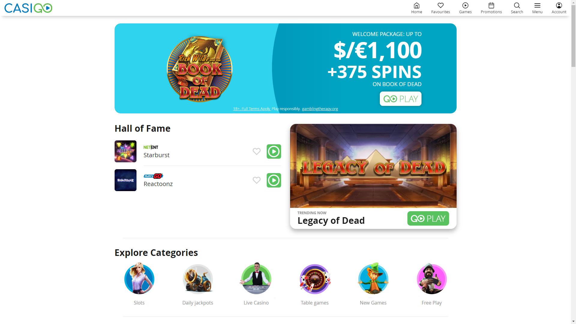 CasiGo Casino screenshot