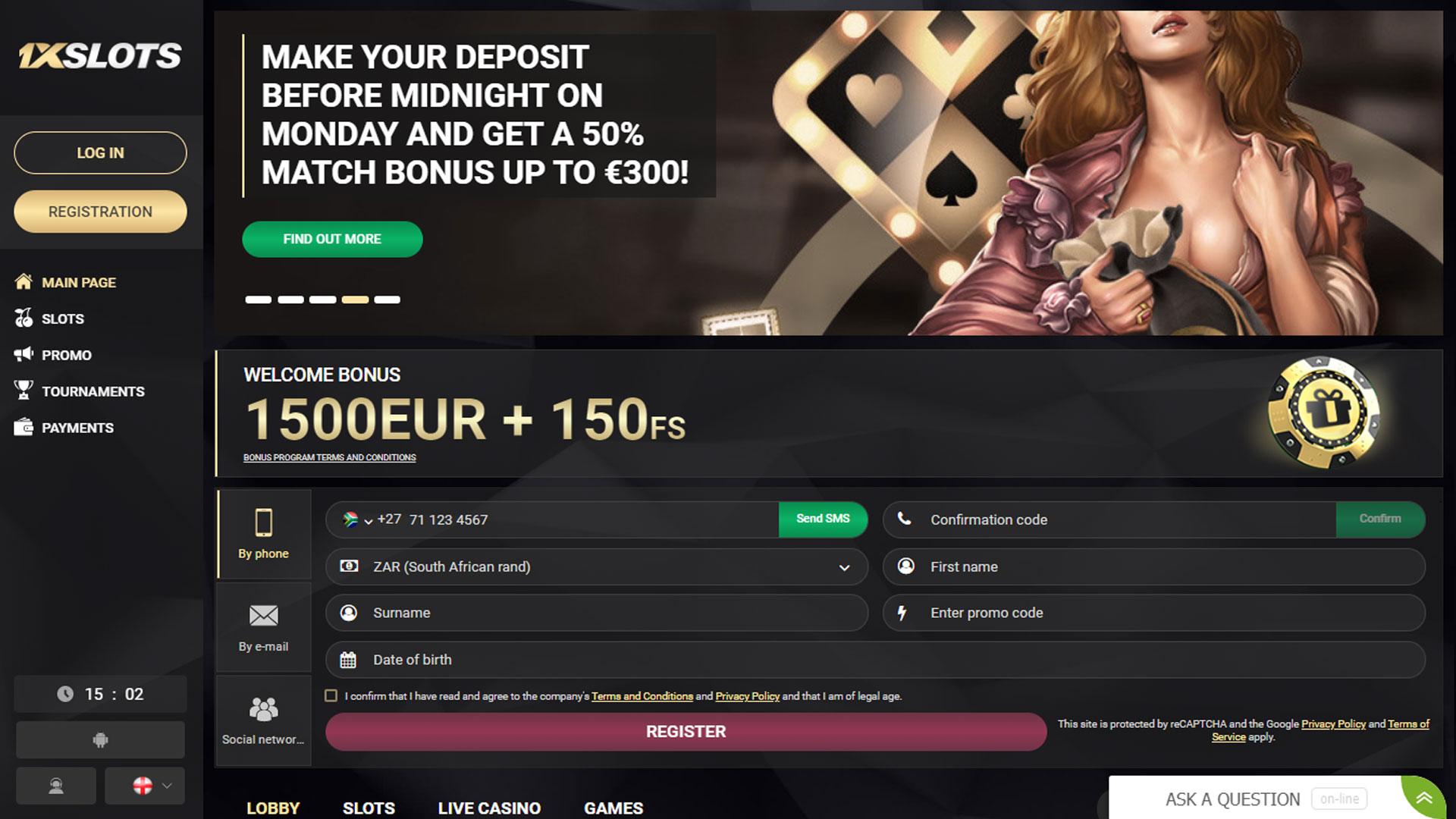 1XSlots Casino screenshot