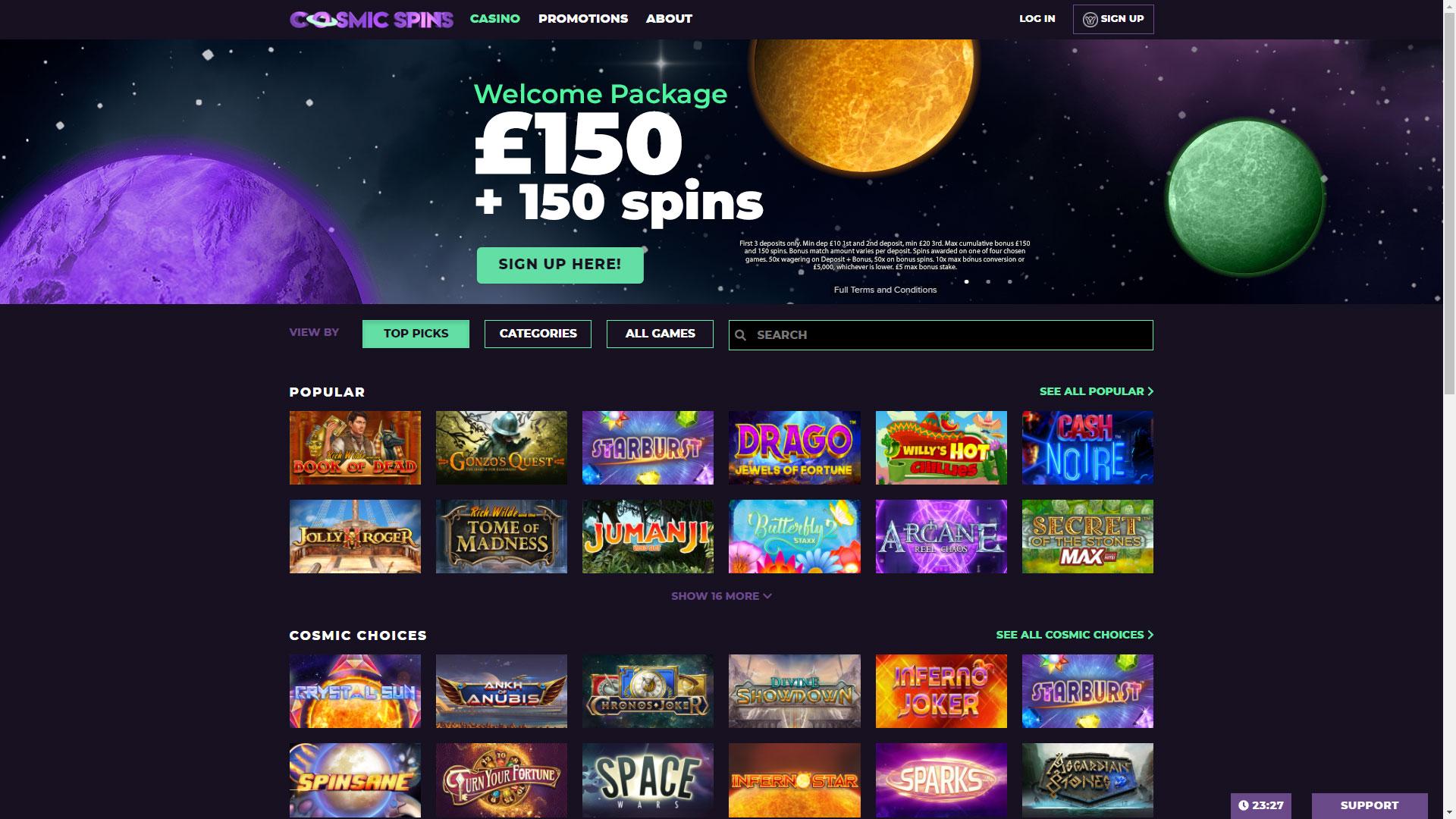 Cosmic Spins Casino screenshot